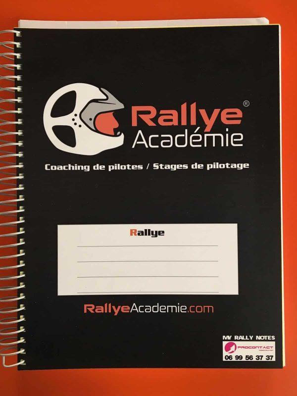 Cahier de notes professionnel Rallye Academie